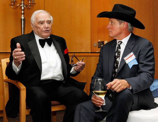 Ernest Borgnine, left, speaks with honoree Bruce Boxleitner before the Western Heritage Awards at the National Cowboy and Western Heritage Museum in Oklahoma City, Saturday, April 21, 2012. Photo by Nate Billings, The Oklahoman