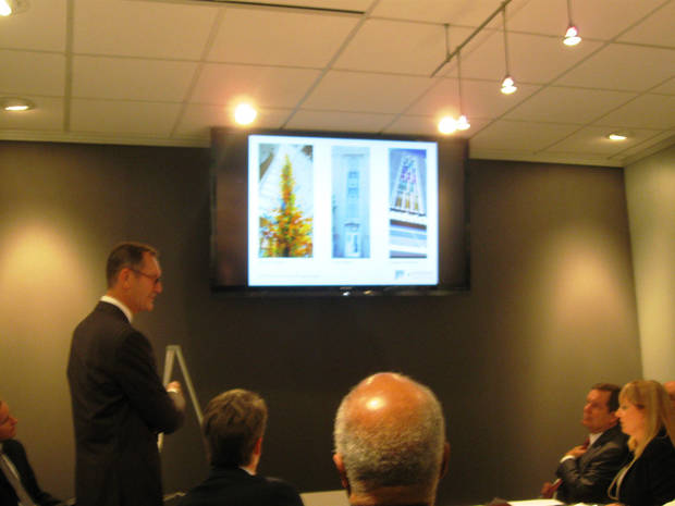 Architect Anthony McDermid presents inspirations for designs of a new parking garage at Wednesday's meeting of the Oklahoma City Urban Renewal Authority. <strong>Steve Lackmeyer</strong>