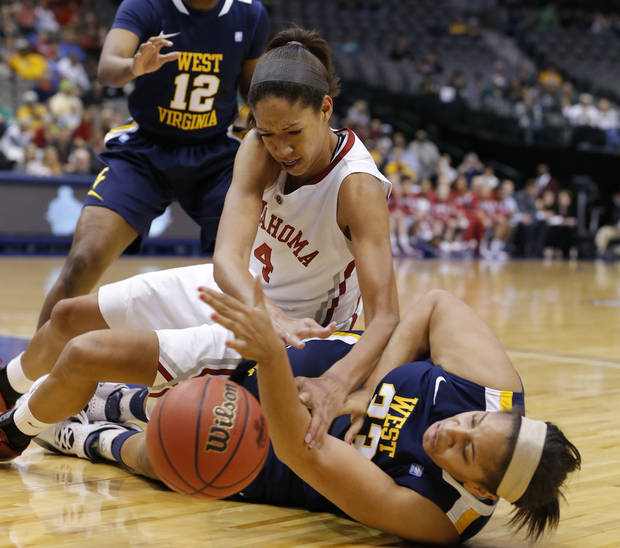 Oklahoma's Nicole Griffin figtsmfornthe ball with West Virginia's Ayana Dunning during the Big 12 tournament women's college basketball game between the University of Oklahoma and West Virginia at American Airlines Arena in Dallas, Saturday, March 9, 2012. Photo by Bryan Terry, The Oklahoman