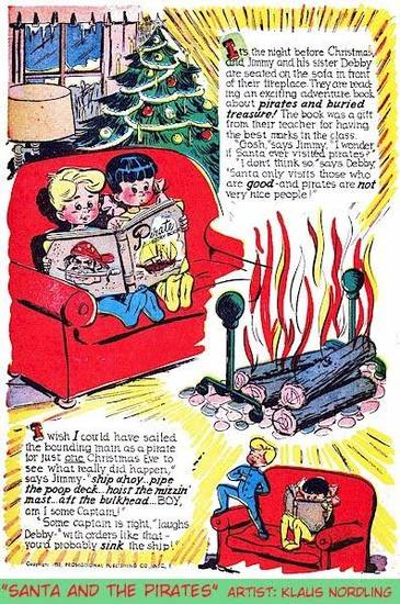 "Comic art from ""The Great Treasury of Christmas Comic Book Stories."""