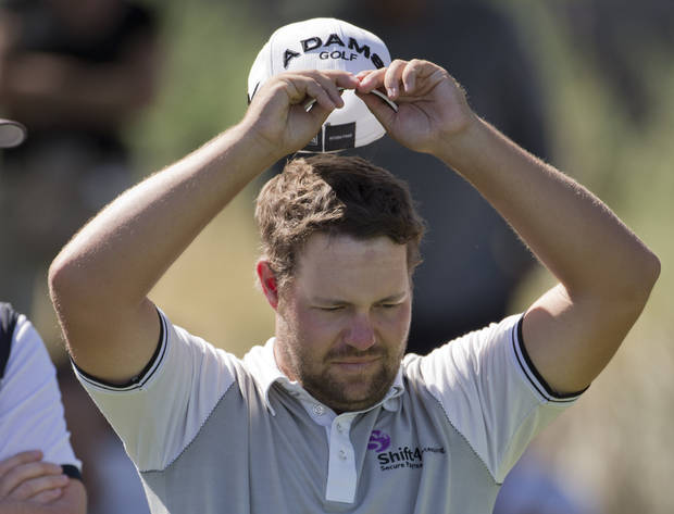 Ryan Moore prepares to tee off the eighth hole during the third round of the Justin Timberlake Shriners Hospitals for Children Open golf tournament, Saturday, Oct. 6, 2012, in Las Vegas. (AP Photo/Julie Jacobson)