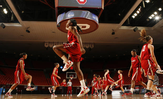 University of Oklahoma (OU) women's basketball team warms up during practice for first round of the NCAA Women's Basketball Championship Tournament at the Lloyd Noble Center on Saturday, March 17, 2012, in Norman, Okla.   Photo by Steve Sisney, The Oklahoman