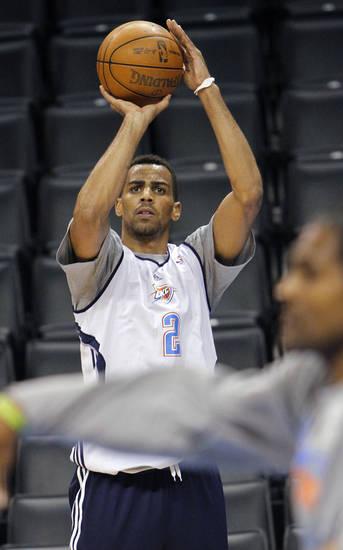 Oklahoma City's Thabo Sefolosha takes a shot during the NBA Finals practice day at the Chesapeake Energy Arena on Monday, June 11, 2012, in Oklahoma City, Okla. Photo by Chris Landsberger, The Oklahoman
