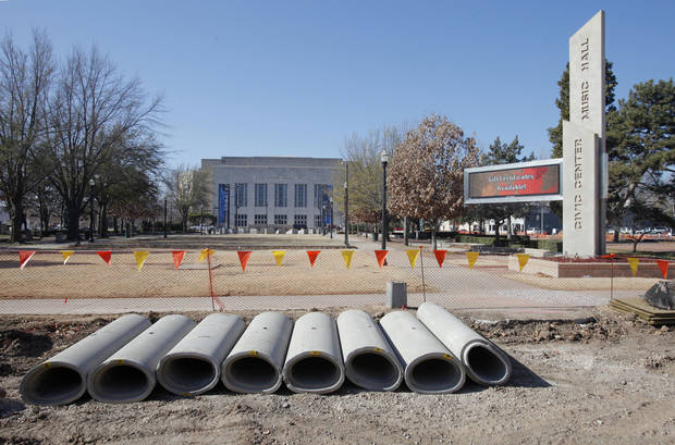 Construction continues on the streets surrounding Civic Center park between the Civic Center Music Hall and City Hall.