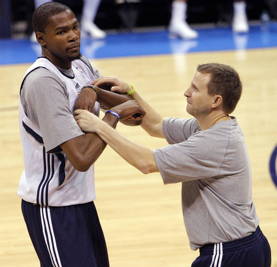 Oklahoma City&#039;s Kevin Durant and coach Scott Brooks goof around during the NBA Finals practice day at the Chesapeake Energy Arena on Monday, June 11, 2012, in Oklahoma City, Okla. Photo by Chris Landsberger, The Oklahoman