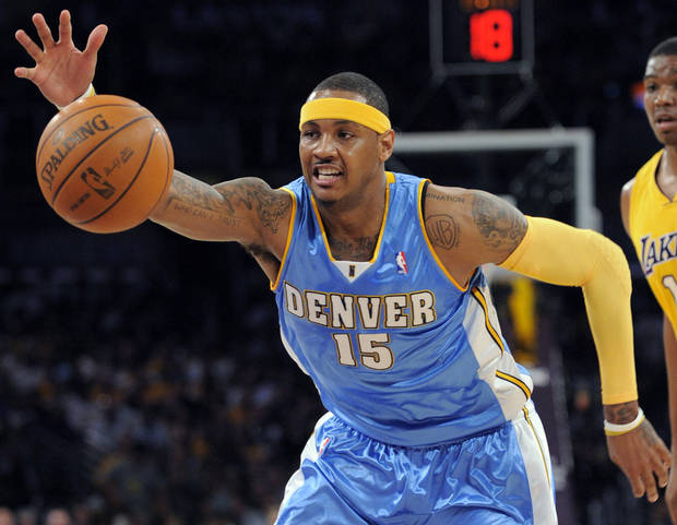 Denver's Carmelo Anthony could be on his way out of the Northwest Division. AP PHOTO