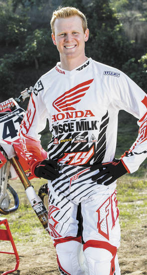 Above: Trey Canard, shown wearing his protective gear, suffered a spinal cord injury during a motocross competition Jan. 21, 2012. PHOTO PROVIDED