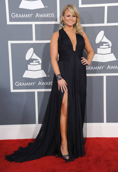 Miranda Lambert arrives at the 55th annual Grammy Awards on Sunday, Feb. 10, 2013, in Los Angeles.  (Photo by Jordan Strauss/Invision/AP) ORG XMIT: CADC306