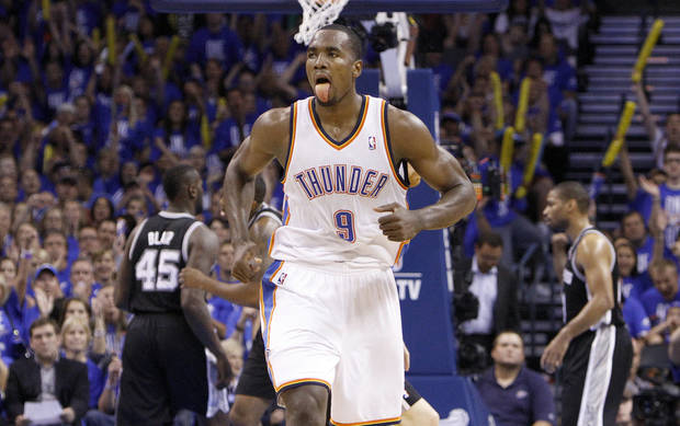 Oklahoma City's Serge Ibaka (9) celebrates during Game 3 of the Western Conference Finals between the Oklahoma City Thunder and the San Antonio Spurs in the NBA playoffs at the Chesapeake Energy Arena in Oklahoma City, Thursday, May 31, 2012.  Photo by Sarah Phipps, The Oklahoman