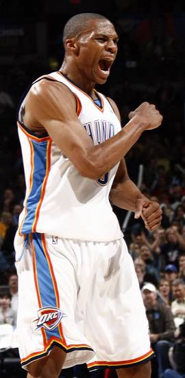 Oklahoma City's Russell Westbrook reacts after a play in the first half during the NBA basketball game between the Toronto Raptors and the Oklahoma City Thunder at the Ford Center in Oklahoma City, Friday, Dec. 19, 2008. BY NATE BILLINGS, THE OKLAHOMAN