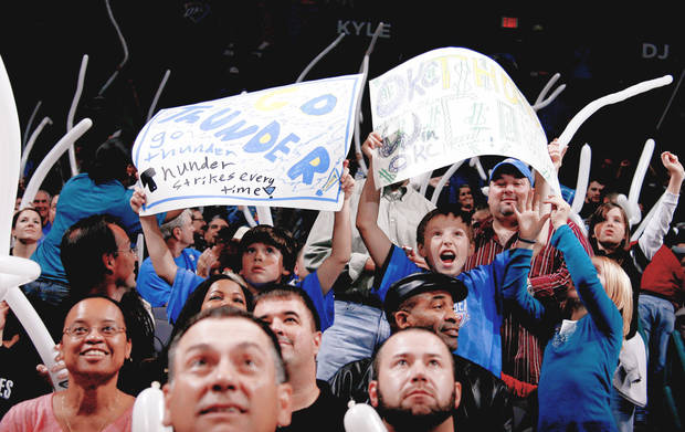 Oklahoma City Thunder fans could make the team one of only three to have a season-ticket waiting list for next season. Photo by Bryan Terry, The Oklahoman