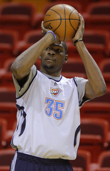 Oklahoma City's Kevin Durant shoots the ball during a practice the day before Game 4 of the NBA Finals between the Oklahoma City Thunder and the Miami Heat at American Airlines Arena, Monday, June 18, 2012. Photo by Bryan Terry, The Oklahoman