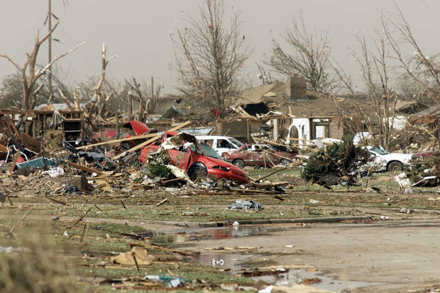 MAY 3, 1999 TORNADO: Tornado damage near S.E. 43rd &Lamar dr.  in Del City. Just West of Tinker.