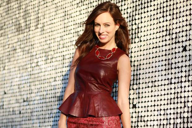 Red top features the seasons top trends including leather, peplum style and a sleeveless look. Photo provided