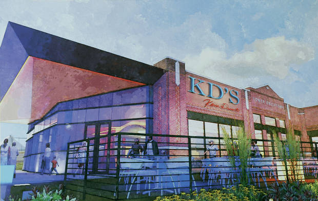 An artist�s rendering shows how Kevin Durant�s proposed restaurant venture, KD�s, will look in Oklahoma City�s Bricktown district.