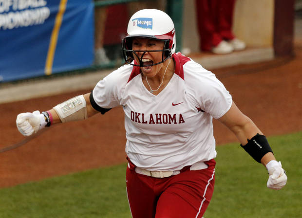 Sooner pitcher Keilani Ricketts comes home after a home run to end the game at the NCAA Super Regional softball game as the University of Oklahoma (OU) Sooners defeats Texas A&M 10-2 at Marita Hines Field on Friday, May 24, 2013 in Norman, Okla. Photo by Steve Sisney, The Oklahoman