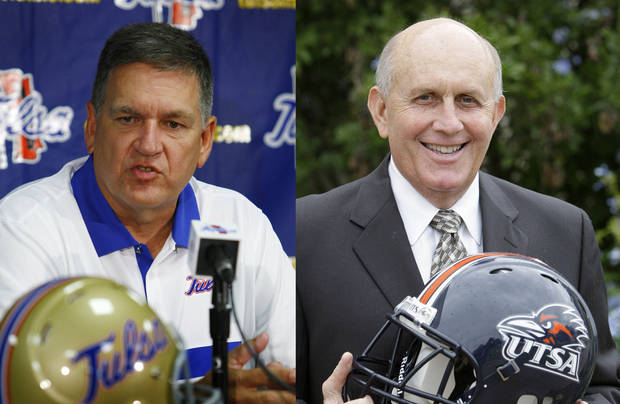 Tulsa coach Bill Blankenship, left, and UTSA coach Larry Coker.  Photos by Tom Gilbert, Tulsa World and The Associated Press