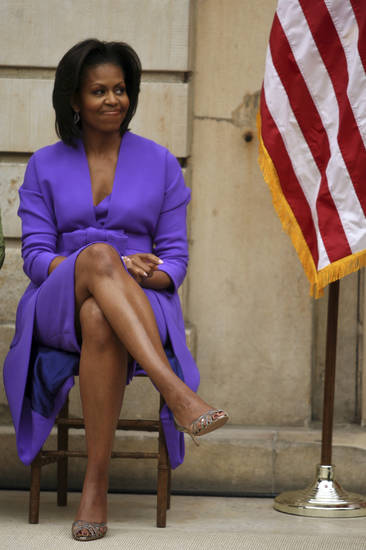 First Lady Michelle Obama attends the ribbon cutting ceremony officially reopening the Charles Engelhard Court of the newly renovated American Wing at the Metropolitan Museum of Art in New York , Monday, May 18, 2009.  (AP Photo/Mary Altaffer) ORG XMIT: NYMA106