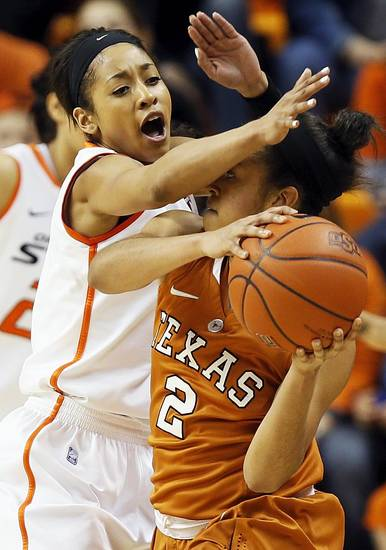 Oklahoma State's Tiffany Bias (3) pressures Texas' Celina Rodrigo (2) during a women's college basketball game between Oklahoma State University (OSU) and the University of Texas at Gallagher-Iba Arena in Stillwater, Okla., Saturday, March 2, 2013. Photo by Nate Billings, The Oklahoman