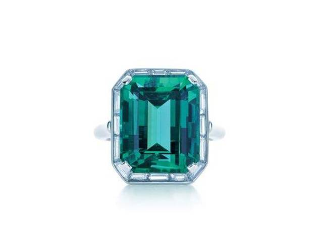 This product image released by Pantone LLC shows a Tiffany emerald and diamond ring. The rich, vibrant shade of emerald green is Pantone LLC's Color of the Year for 2013, beating out all the other shades of the rainbow. (AP Photo/Pantone LLC)