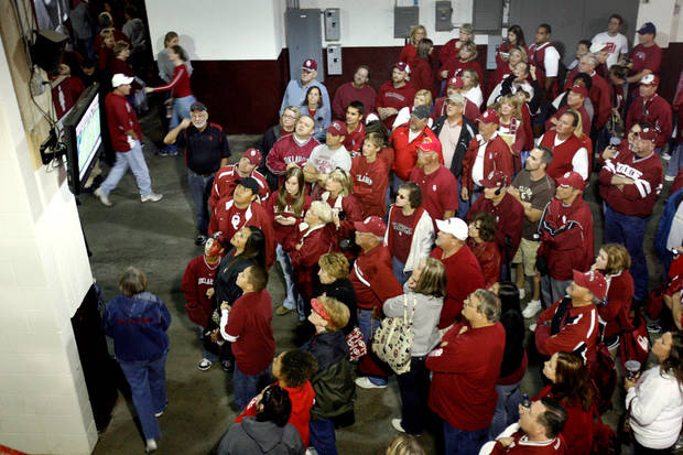 Fans stay after the  Sooner  ball game to watch Texas finish with Texas Tech after the college football game between the University of Oklahoma  Sooners (OU) and the University of Nebraska Huskers (NU) at the Gaylord Family Memorial Stadium, on Saturday, Nov. 1, 2008, in Norman, Okla. BY STEVE SISNEY, THE OKLAHOMAN