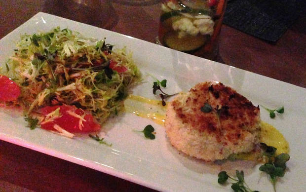 Crab Cake with Frisee Salad at Park House.