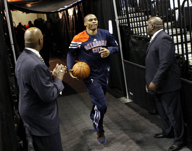 Oklahoma City's Russell Westbrook (0) leads to team on to the court to warm up before Game 5 of the Western Conference Finals between the Oklahoma City Thunder and the San Antonio Spurs in the NBA basketball playoffs at the AT&T Center in San Antonio, Monday, June 4, 2012. Photo by Nate Billings, The Oklahoman
