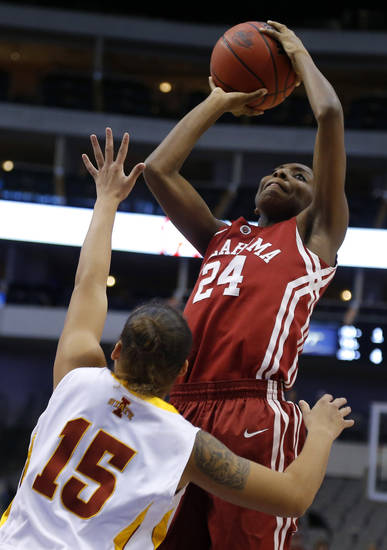Oklahoma's Sharane Campbell (24) shoots the ball over Iowa State's Kidd Blaskowsky (15) during the Big 12 tournament women's college basketball game between the University of Oklahoma and Iowa State University at American Airlines Arena in Dallas, Sunday, March 10, 2012.  Oklahoma lost 79-60. Photo by Bryan Terry, The Oklahoman