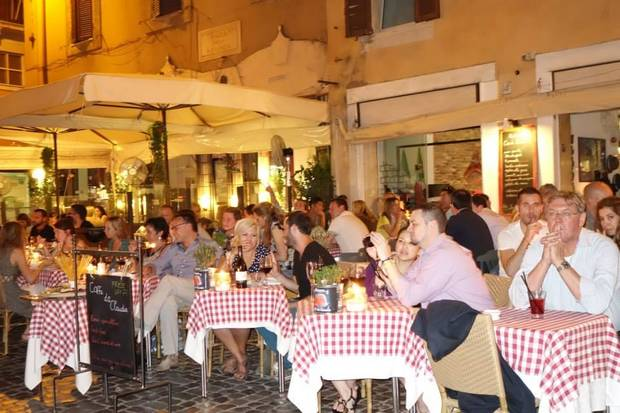Outdoor cafes fill the streets and alleys of Rome. (Photo by Tricia Tramel)