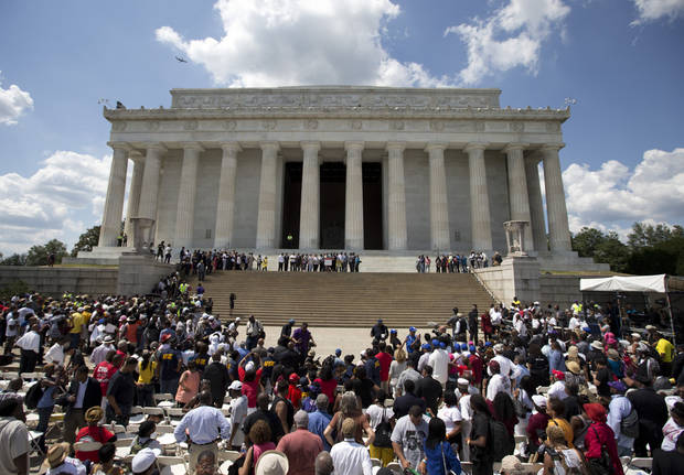 Participants gather on the steps of the Lincoln Memorial during an event to commemorate the 50th anniversary of the 1963 March on Washington, Saturday, Aug. 24, 2013, in Washington. (AP Photo/Carolyn Kaster)