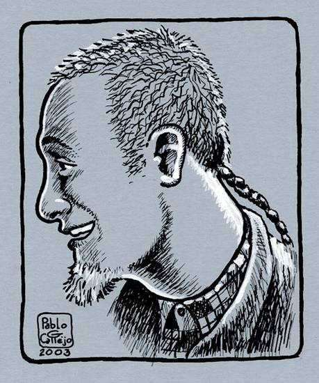 "Graphic-novel author Rob Vollmar, as illustrated by his ""Bluesman"" collaborator, Pablo Callejo."