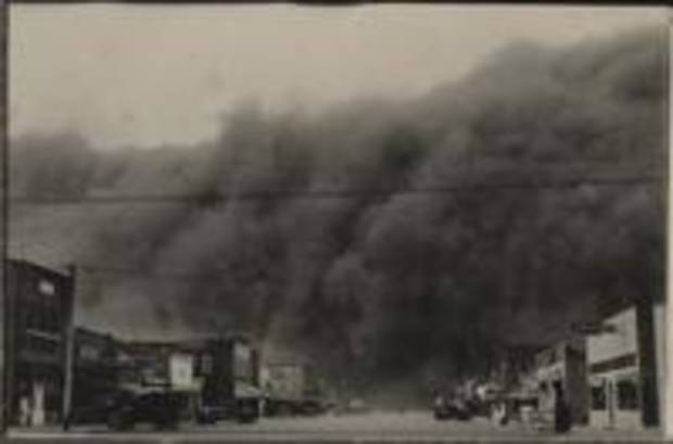 The huge Black Sunday storm - the worst storm of the decade-long Dust Bowl in the southern Plains - as it approaches Ulysses, Kansas, April 14, 1935. Daylight turned to total blackness in mid-afternoon. - Provided Photo