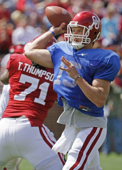 Quarterback Drew Allen (15) throws during the University of Oklahoma Sooner's (OU) Spring Football game at Gaylord Family-Oklahoma Memorial Stadium on Saturday, April 16, 2011, in Norman, Okla.  