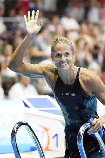 Dara Torres waves after swimming in the women�s 50-meter freestyle semifinal at the U.S. Olympic swimming trials. AP PHOTO