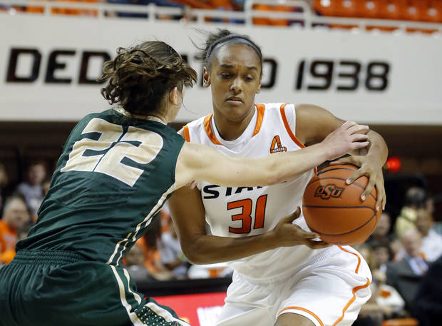 Oklahoma State's Kendra Suttles (31) tries to get around Cal Poly's Caroline Reeves (22) during the women's college basketball game between Oklahoma State and Cal Poly at  Gallagher-Iba Arena in Stillwater, Okla., Friday, Nov. 9, 2012. Photo by Sarah Phipps, The Oklahoman