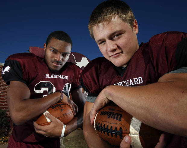 Blanchard running backs Stephen Davis, left, and Braden Stringer have been instrumental for Blanchard�s offense. Photo by Steve Sisney, The Oklahoman