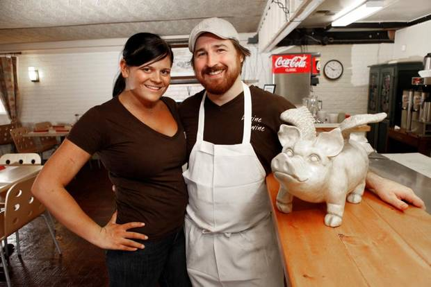 Divine Swine owners Courtney and Josh Valentine in Oklahoma City , Wednesday, October 26, 2011. Photo by Steve Gooch
