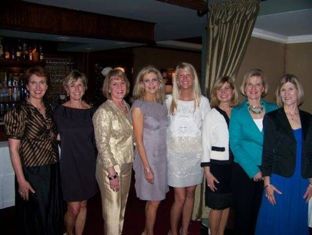Debbie Pitman, Debby McQueen, Lori Hill, Beth Wells (mother of the bride), Courtney Wells (Bride) Mary Durbin, Ginger Johnson, and Christy Johnson were at the bridesmaid's luncheon at The Coach House.