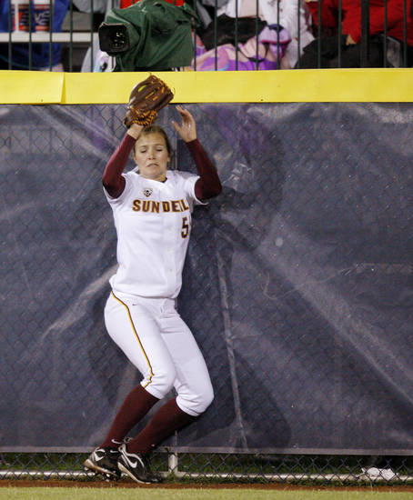 Arizona State's  Elizabeth Caporuscio catches the ball for an out in the third inning during a Women's College World Series game against Alabama at ASA Hall of Fame Stadium in Oklahoma City, Friday, June 1, 2012.  Photo by Bryan Terry, The Oklahoman
