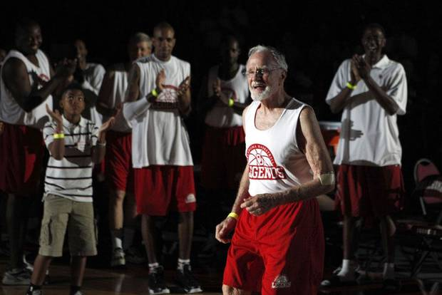 Keith Miller, 84, is introduced before the reunion basketball game at the Sooner Basketball Family Weekend at Lloyd Noble Center in Norman, Okla., Saturday, Aug. 27, 2011. Miller was on the OU basketball team from 1948 to 1950. Photo by Sarah Phipps, The Oklahoman