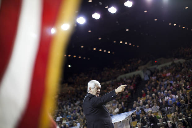 Republican presidential candidate, former House Speaker Newt Gingrich speaks during a town hall at Oral Roberts University on Monday, Feb. 20, 2012 in Tulsa, Okla.  (AP Photo/Evan Vucci) ORG XMIT: OKEV101