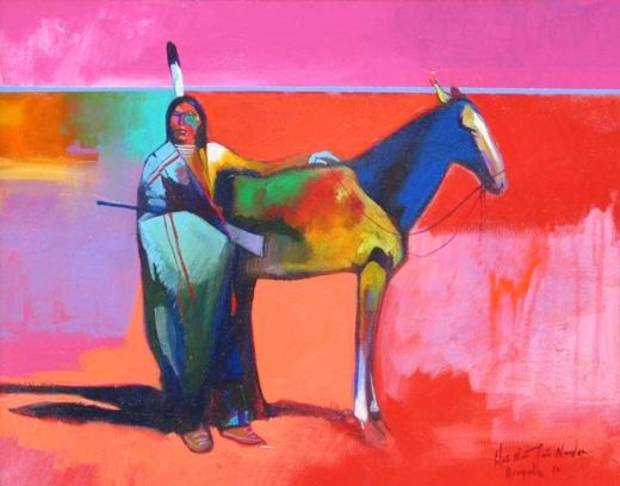 """Arapaho Indian With Horse"" by Brent Learned"