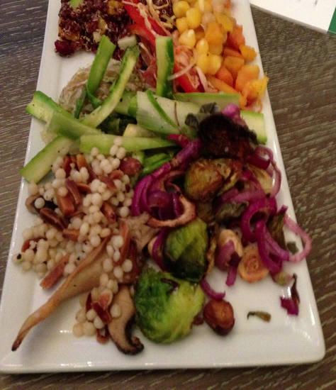 A sampling of salads from Kitchen 324 features ingreidients like quinoa, asparagus, Israeli Couscous, Brussels Sprouts and a new spin on classic succotash. Photo by Dave Cathey, The Oklahoman <strong>THE OKLAHOMAN - DAVE CATHEY</strong>