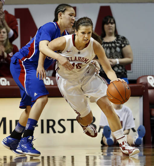 Oklahoma Sooner's Morgan Hook (10) drives defended by Kansas Jayhawks' Markisha Hawkins (54) in the second half as the University of Oklahoma Sooners (OU) defeat the Kansas Jayhawks 85-77 in NCAA, women's college basketball at The Lloyd Noble Center on Saturday, March 2, 2013  in Norman, Okla. Photo by Steve Sisney, The Oklahoman