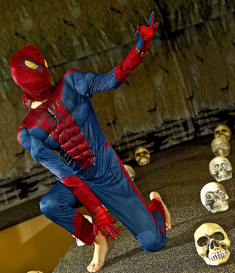 Spider-Man costume modeled by Bennett. Photo by Chris Landsberger, The Oklahoman. <strong>CHRIS LANDSBERGER</strong>