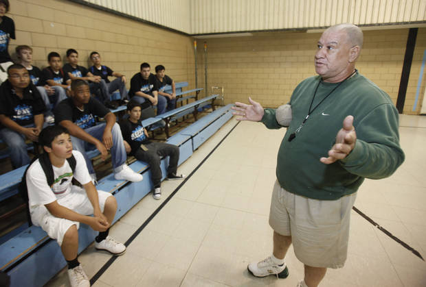 The boys PE coach talks to students at Webster Middle School in Oklahoma City, OK, Friday, May 4, 2012. This is for a story about the life of a middle school.  By Paul Hellstern, The Oklahoman