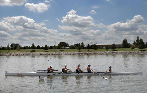 Rowers compete during the USRowing Masters National Championship on the Oklahoma River, Sunday, Aug. 14, 2011. Photo by Sarah Phipps, The Oklahoman