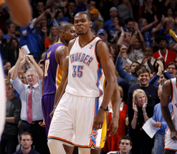 Oklahoma City's Kevin Durant (35) reacts during an NBA basketball game between the Oklahoma City Thunder and the Los Angeles Lakers at Chesapeake Energy Arena in Oklahoma City, Thursday, Feb. 23, 2012.  Oklahoma City won 100-85. Photo by Bryan Terry, The Oklahoman