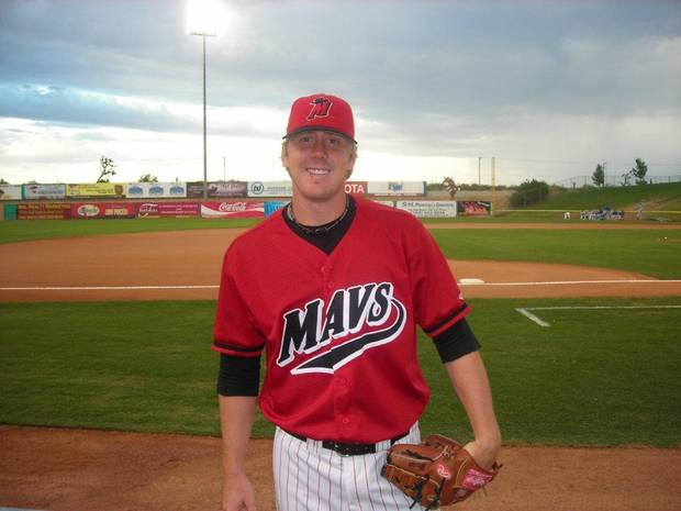 Brandon Weeden at a minor league baseball field. PHOTO PROVIDED