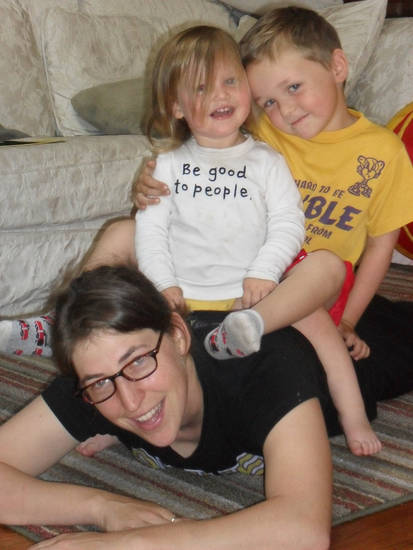 Mayim Bialik plays with her children, Fred, 3 and Miles, 6. Photo provided. <strong></strong>